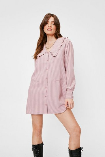 Oatmeal Wear the Stripe Mini Dress