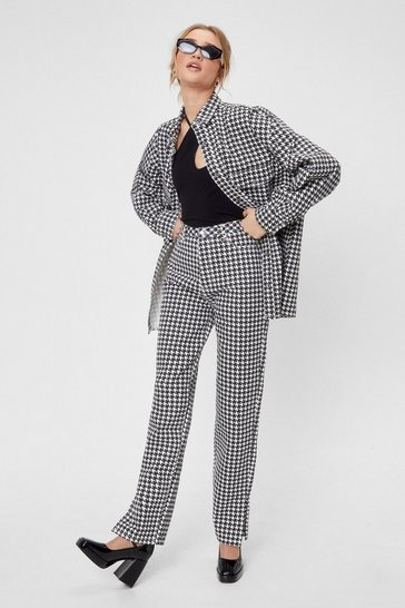 Black Houndstooth Split Hem Straight Leg Jeans