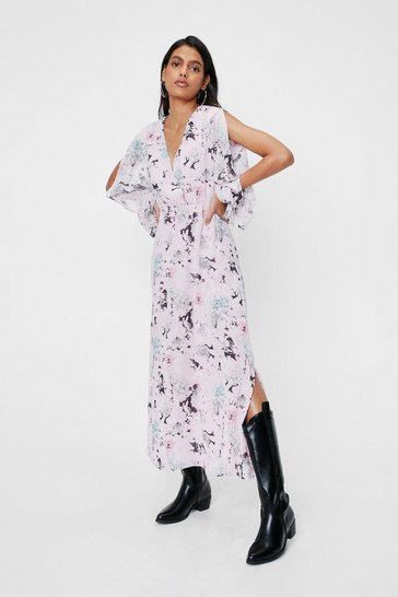 Light pink Chiffon Floral Slit Maxi Dress