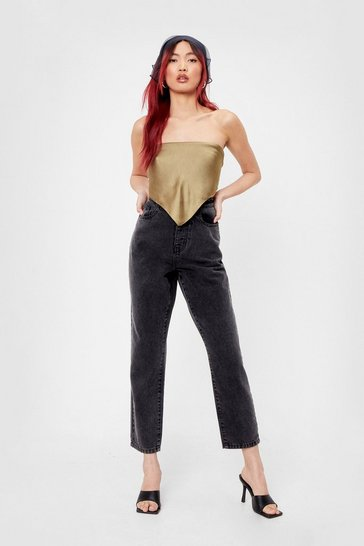 Grey High Waisted Tapered Cropped Mom Jeans