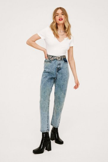 Light blue High Waisted Tapered Cropped Mom Jeans