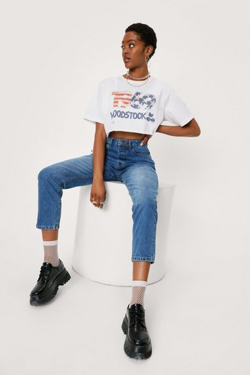 Mid blue High Waisted Acid Wash Tapered Mom Jeans