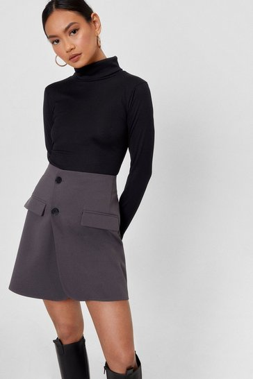 Black Petite Fitted Turtleneck Top