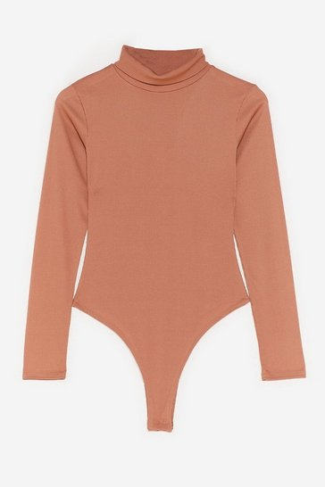 Tan We Better Say High Neck Petite Bodysuit