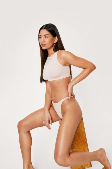 Nude Seamless Ribbed High Leg Thong