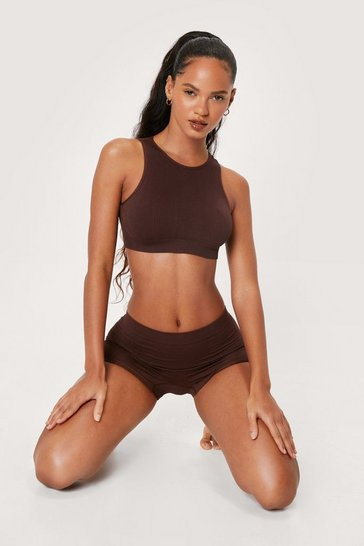 Chocolate Seamless Ribbed High Neck Crop Top