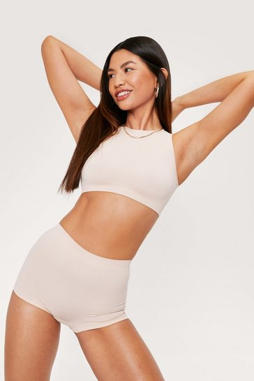 Nude Seamless Ribbed Racerback Crop Top