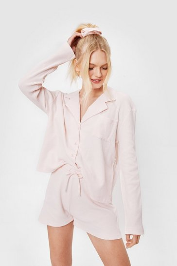 Blush Oversized Waffle Shirt Shorts and Srunchie Pajama Set