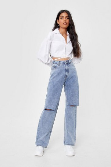 Vintage blue Distressed Knee High Waisted Wide Leg Jeans
