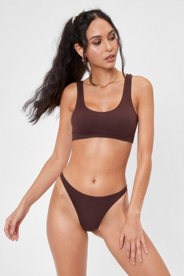 Chocolate Seamless Nights Ribbed Scoop Neck Bralette