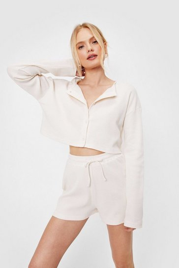 Cream Cropped Button Down Shirt and Shorts Pajama Set