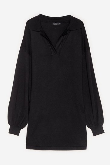 Black Plus Size V Neck Knitted Sweater Dress