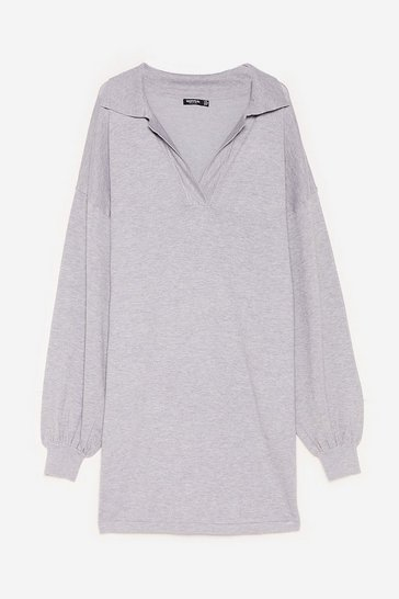Grey Plus Size V Neck Knitted Sweater Dress