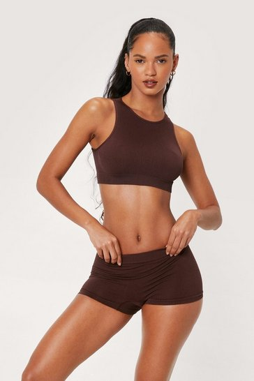 Chocolate Seamless Ribbed Boxer Shorts