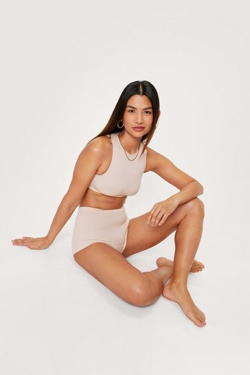 Nude Seamless Ribbed Low Rise Boxer Shorts