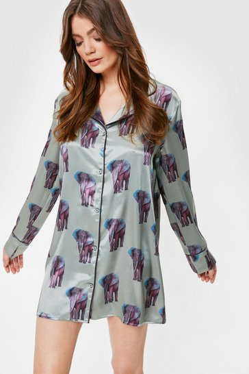Sage Satin Elephant Print Mini Night Dress