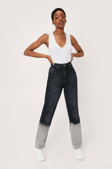 Grey Two Tone High Waisted Mom Jeans