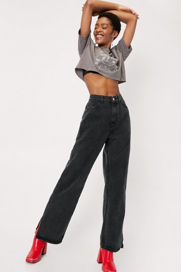 Washed black High Waisted Split Hem Wide Leg Jeans