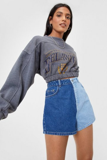 Light blue Two Tone High Waisted Denim Shorts