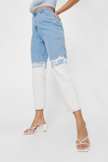 Blue Plus Size Dip Dye Straight Leg Jean