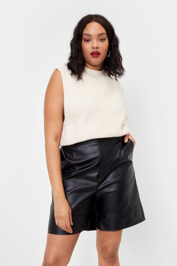 Black Faux Leather Back Down Tailored Longline Shorts