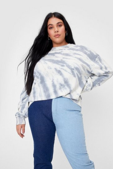 Blue Tie Dye Love to Love You Plus Oversized Sweatshirt