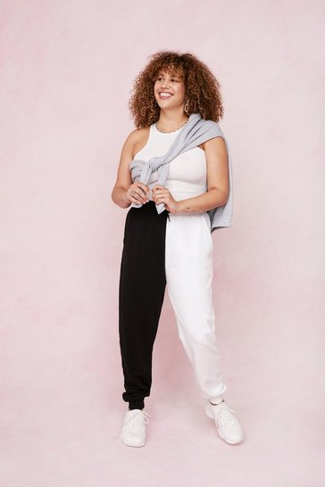 Black Plus Size Two Tone High Waisted Joggers