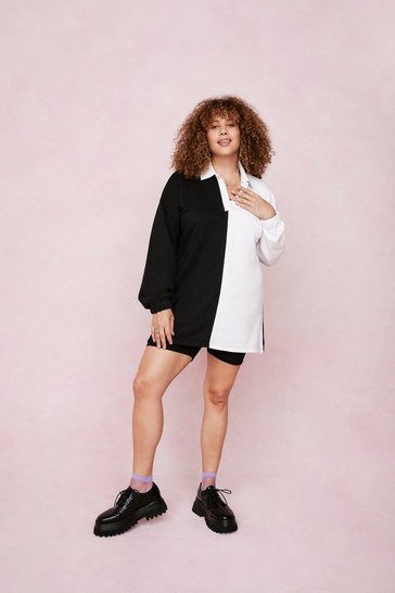 Black Plus Size Two Tone Oversized Sweatshirt