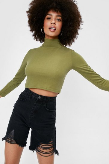 Khaki Recycled Knitted Turtleneck Crop Top