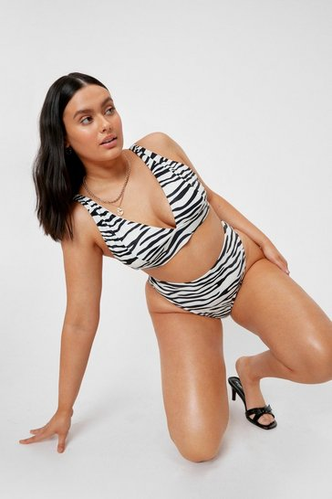 Cream Plus Size Zebra Print V Neck Bikini Top