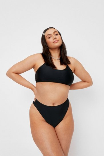 Black Plus Size Scoop Neck High Leg Bikini Set