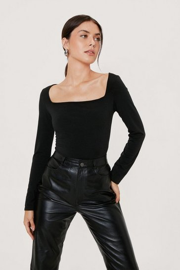 Black Recycled Square Neck High Leg Bodysuit