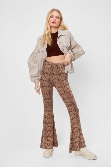 Natural beige Snake Print High Waisted Flare Pants