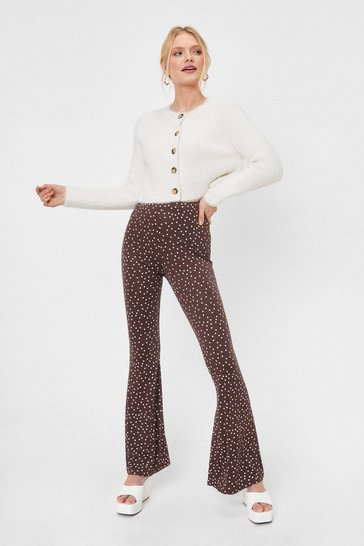 Chocolate Polka Dot Flare Pants