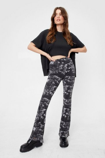 Mono Tie Dyed Up in Promises Mesh Flare Pants