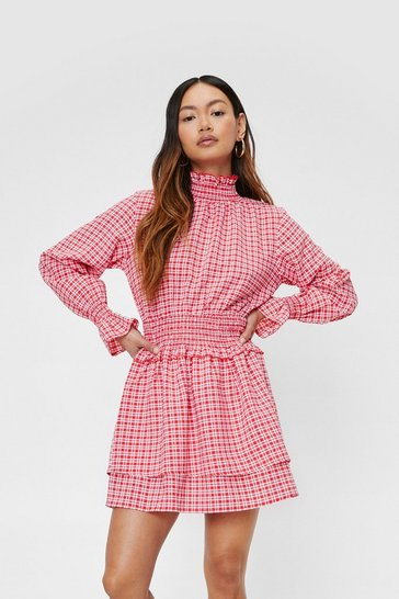 Red Petite Check High Neck Shirred Mini Dress