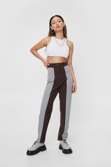 Chocolate Petite High Waisted Check Panelled Pants