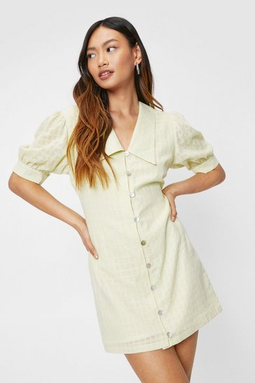 Lemon Petite Oversized Collar Button Down Mini Dress