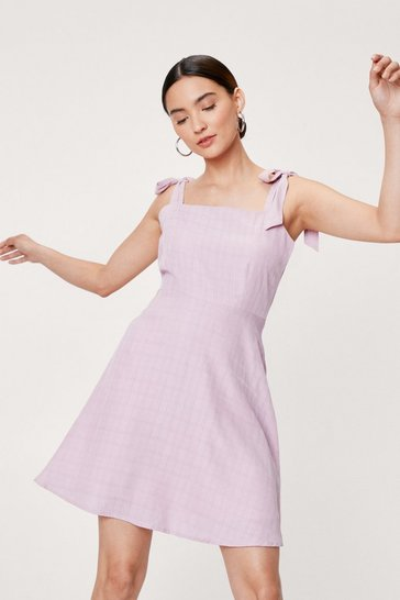 Pink Petite Tie Shoulder Check Design Mini Dress