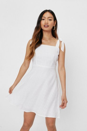 White Petite Tie Shoulder Check Design Mini Dress
