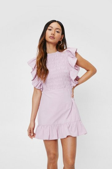 Lilac Petite Shirred Ruffle Mini Dress