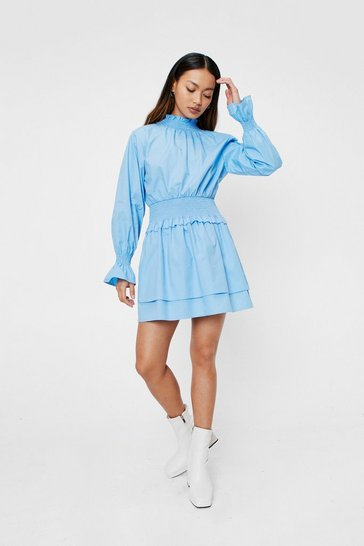 Cornflower blue Shirred 'Em Say Petite Mini Dress