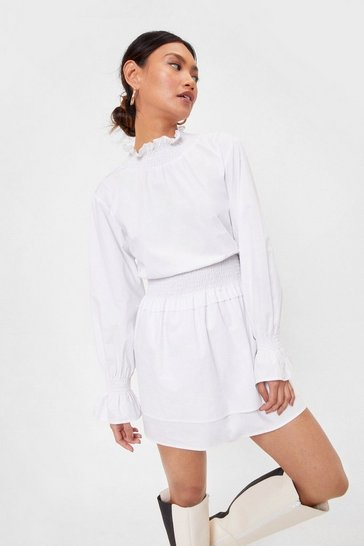 White Petite Shirred High Neck Smock Dress