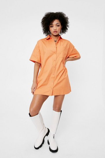 Orange Petite Boxy Short Sleeve Shirt Dress