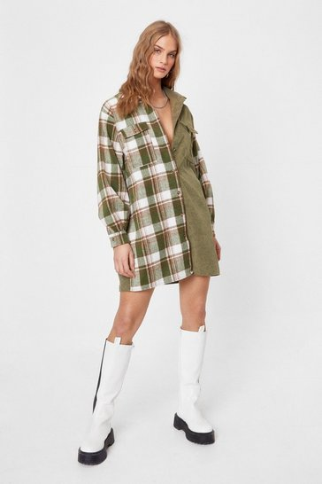Khaki When Grid That Happen Check Shirt Mini Dress