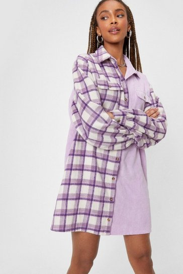 Lilac When Grid That Happen Check Shirt Mini Dress