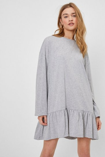 Grey We'll Swing By Relaxed Mini Dress
