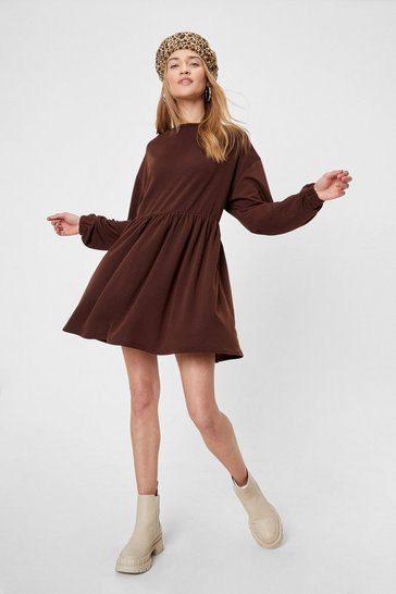 Chocolate Smock Out the Competition Relaxed Mini Dress