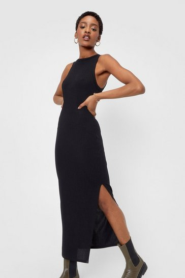 Black Racer Wide Rib Midi Dress