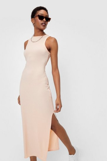 Salmon Racer Wide Rib Midi Dress